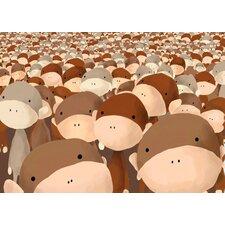 Crowd of Monkeys Canvas Art