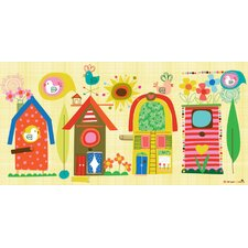 Backyard Birdhouses Canvas Art