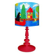 "Black Bear Lodge 21"" H Table Lamp with Drum Shade"