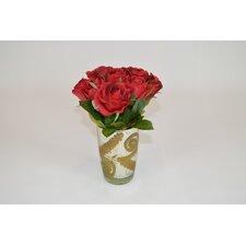 Red Roses in Gold Mercury Vase
