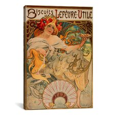 'Biscuits Lefevre Utile' by Alphonse Mucha Vintage Advertisement on Canvas