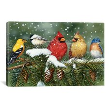 "Decorative Art ""Backyard Birds on Snowy Branch"" by William Vanderdasson Graphic Art on Canvas"