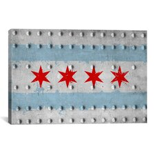 Chicago, Illinois - Grunge Rivet Metal Painted Graphic Art on Canvas