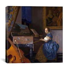 """""""A Young Woman (Lady) Seated at a Virginal (Zittende Klavecimbelspeelster)"""" Canvas Wall Art by Johannes Vermeer"""