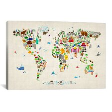 'Animal Map of The World' II by Michael Tompsett Graphic Art on Canvas