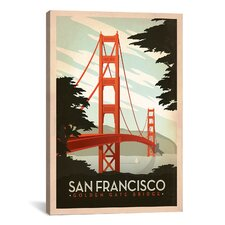 """Golden Gate Bridge San Francisco, California"" by Anderson Design Group Vintage Advertisement on Canvas"