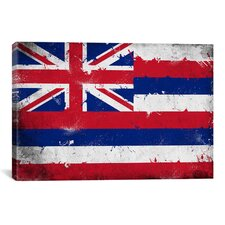 Hawaii Flag, Grunge Painted Graphic Art on Canvas