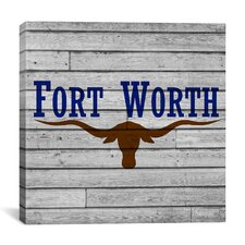 Fort Worth, Texas Flag - Square Grunge Wood Boards Graphic Art on Canvas