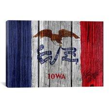 Iowa Flag, Wood Planks Graphic Art on Canvas