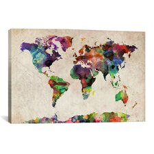 """""""World Map Urban Watercolor""""by Michael Tompsett Painting Print on Canvas"""