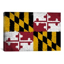 Maryland Flag, Grunge Painted Graphic Art on Canvas