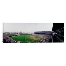 Panoramic Spectators Watching a Baseball Mach in a Stadium, Wrigley Field, Chicago, Cook County, Illinois Photographic Print on Canvas