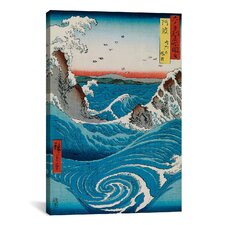 'The Crashing Waves' by Katsushika Hokusai Painting Print on Canvas