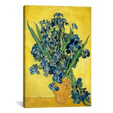 'Vase with Irises Against a Yellow Background' by Vincent Van Gogh Canvas Painting Print