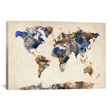 """""""Urban Watercolor World Map V"""" by Michael Thompsett Painting Print on Canvas"""