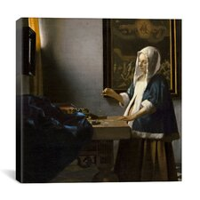 """""""Woman Holding a Balance"""" by Johannes Vermeer Painting Print on Canvas"""
