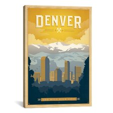 """The Mile High City Denver, Colorado"" by Anderson Design Group Vintage Advertisment on Canvas"