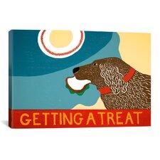 Getting a Treat Sand/Chocolate Dog Canvas Print Wall Art
