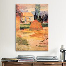 'Haystack in Village' by Paul Gauguin Painting Print on Canvas