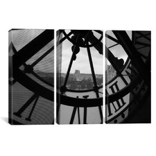 Photography Clock Tower In Paris 3 Piece on Wrapped Canvas Set