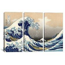 Katsushika Hokusai The Great Wave at Kanagawa 3 Piece on Wrapped Canvas Set