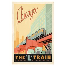 """The L Train Chicago, Illinois"" by Anderson Design Group Vintage Advertisment on Canvas"
