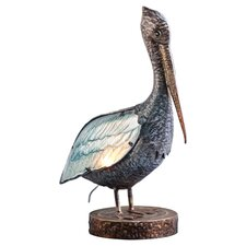 "Glass and Metal Pelican 20.5"" H Table Lamp with Novelty Shade"