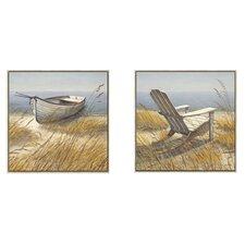 Wall Shoreline Chair / Shoreline Boat by Arnie R. Fisk 2 Piece Canvas Art Set