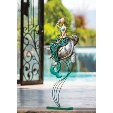 Indoor / Outdoor Metal Mermaid And Turtle Statue