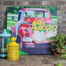 """Red Truck Outdoor"" by Laurie Richardson Painting Prints on Canvas"