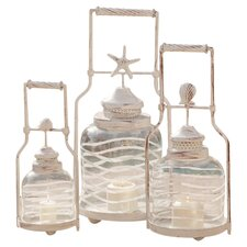 3 Piece Frosted Globe Shell Lantern Set (Set of 3)