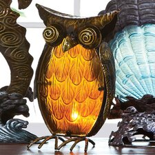 "Glass and Metal Owl 13.3"" H Table Lamp with Novelty Shade"