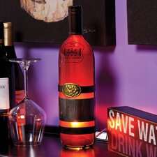 """Embossed and Hand Painted Glass Wine Bottle 13.8"""" H Table Lamp with Novelty Shade"""