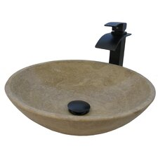 Travertine Stone Vessel with Drain and Faucet