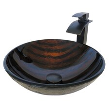 Painted Glass Vessel Sink with Drain and Faucet