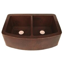 """33"""" x 22"""" Redondeado Curved Double Bowl Kitchen Sink"""