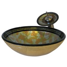 Celbrazione Hand Painted Glass Vessel Sink with Drain and Faucet