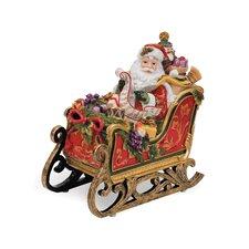 Regal Holiday Santa In Sleigh Musical Figurine