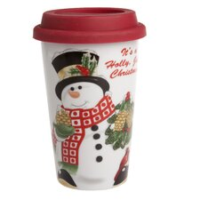 Holly Berry Snowman Travel Mug