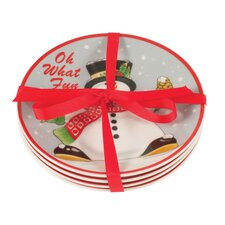 Holly Berry Snowman Snack Plate (Set of 4)