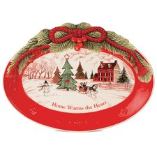 "Home Warms The Heart 13"" Oval Cookie Platter (Set of 2)"