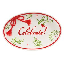 Winter White Holiday Sentiment Oval Serving Tray (Set of 2)