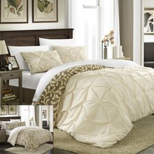 Talia 3 Piece Pleated Pintuck Duvet Set