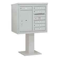 4C Pedestal Mailbox 7 Door High Unit Double Column 6 Doors and 1 Parcel Locker