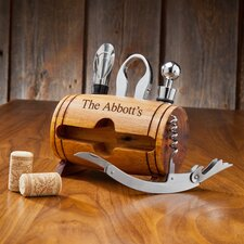 4 Piece Wine Barrel Accessory Set