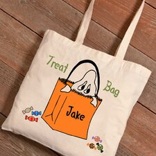 Personalized Halloween Trick-or-Treat Ghost Canvas Bag