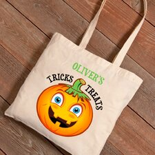 Personalized Halloween Trick-or-Treat Pumpkin Canvas Bag