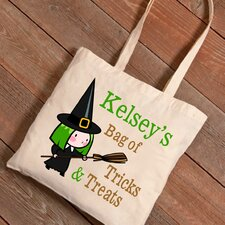 Personalized Halloween Trick-or-Treat Witches Broom Canvas Bag