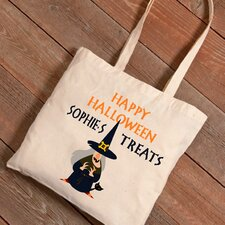 Personalized Halloween Trick-or-Treat Witches Cat Canvas Bag