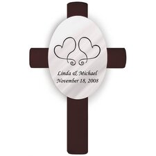 Personalized Gift Oval Wedding Cross Two Hearts Unity Wall Décor